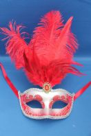 Red and Silver Tall Feather Mask